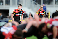 20130303 Copyright onEdition 2013©.Free for editorial use image, please credit: onEdition..Joel Tomkins (left) and Charlie Hodgson of Saracens look on during the Premiership Rugby match between Saracens and London Welsh at Allianz Park on Sunday 3rd March 2013 (Photo by Rob Munro)..For press contacts contact: Sam Feasey at brandRapport on M: +44 (0)7717 757114 E: SFeasey@brand-rapport.com..If you require a higher resolution image or you have any other onEdition photographic enquiries, please contact onEdition on 0845 900 2 900 or email info@onEdition.com.This image is copyright onEdition 2013©..This image has been supplied by onEdition and must be credited onEdition. The author is asserting his full Moral rights in relation to the publication of this image. Rights for onward transmission of any image or file is not granted or implied. Changing or deleting Copyright information is illegal as specified in the Copyright, Design and Patents Act 1988. If you are in any way unsure of your right to publish this image please contact onEdition on 0845 900 2 900 or email info@onEdition.com