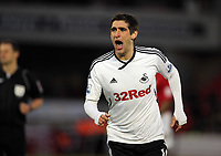 Pictured: Danny Graham of Swansea celebrating his first goal. Saturday 07 January 2012<br /> Re: FA Cup football Barnsley FC v Swansea City FC at the Oakwell Stadium, south Yorkshire.