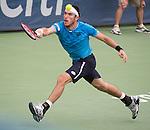 Leonardo Mayer (ARG) loses to Kei Nishikori (JPN) 6-4, 6-4 at the Citi Open in Washington, DC,  on August 6, 2015.