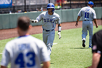 Duke Blue Devils shortstop Ethan Murray (1) jogs home after belting a home run against the Wright State Raiders in NCAA Regional play on Robert M. Lindsay Field at Lindsey Nelson Stadium on June 5, 2021, in Knoxville, Tennessee. (Danny Parker/Four Seam Images)