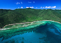 Aerial view of Reef Bay St. John<br /> Virgin Islands National Park<br /> showing the coral reef structure and bay.