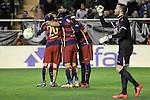 FC Barcelona's players celebrate goal in presence of Rayo Vallecano's Juan Carlos Martin dejected during La Liga match. March 3,2016. (ALTERPHOTOS/Acero)