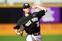 Starting pitcher Tim Cooney #35 of the Wake Forest Demon Deacons in action against the Miami Hurricanes at Gene Hooks Field on March 19, 2011 in Winston-Salem, North Carolina.  The Hurricanes defeated the Demon Deacons 4-3.  Photo by Brian Westerholt / Four Seam Images