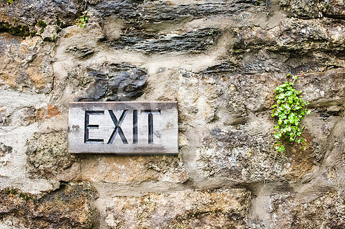 Ireland. Exit sign on wood with stone wall and little plant.