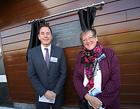 Pictured L-R: Councillors Robert Stewart and Christine Richards Tuesday 04 April 2017<br />Re: Official opening of the Fairwood Training Complex of Swansea City FC, Wales, UK