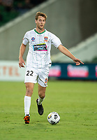 27th March 2021; HBF Park, Perth, Western Australia, Australia; A League Football, Perth Glory versus Newcastle Jets; Lachlan Jackson of the Newcastle Jets breaks on the ball through midfield