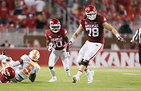 Arkansas wide receiver De'Vion Warren (10) carries the ball, Saturday, November 7, 2020 during the first quarter of a football game at Donald W. Reynolds Razorback Stadium in Fayetteville. Check out nwaonline.com/201108Daily/ for today's photo gallery. <br /> (NWA Democrat-Gazette/Charlie Kaijo)
