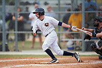 Western Connecticut Colonials second baseman Joe Costa (4) at bat during the first game of a doubleheader against the Edgewood College Eagles on March 13, 2017 at the Lee County Player Development Complex in Fort Myers, Florida.  Edgewood defeated Western Connecticut 3-0.  (Mike Janes/Four Seam Images)