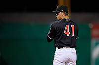 Batavia Muckdogs pitcher Evan Brabrand (41) during a NY-Penn League Semifinal Playoff game against the Lowell Spinners on September 4, 2019 at Dwyer Stadium in Batavia, New York.  Batavia defeated Lowell 4-1.  (Mike Janes/Four Seam Images)