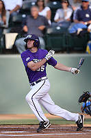Jantzen Witte #35 of the TCU Horned Frogs bats against the UCLA Bruins at the Los Angeles super regionals at Jackie Robinson Stadium on June 9, 2012 in Los Angeles,California. UCLA defeated TCU 4-1.(Larry Goren/Four Seam Images)
