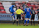 Stranraer's Frank McKeown (5) scores their second goal.