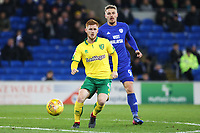 Harrison Reed of Norwich City is marked by Sean Morrison of Cardiff City during the Sky Bet Championship match between Cardiff City and Norwich City at The Cardiff City Stadium, Wales, UK. Friday 01 December 2017