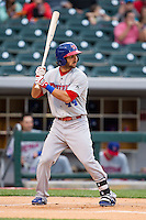 Darin Mastroianni (44) of the Buffalo Bisons at bat against the Charlotte Knights at BB&T Ballpark on May 9, 2014 in Charlotte, North Carolina.  The Knights defeated the Bisons 5-3.  (Brian Westerholt/Four Seam Images)