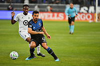 SAN JOSE, CA - MARCH 7: Oswaldo Alanis #4 of the San Jose Earthquakes passes the ball during a game between Minnesota United FC and San Jose Earthquakes at Earthquakes Stadium on March 7, 2020 in San Jose, California.