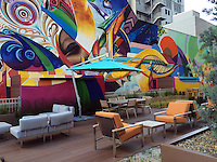 Sky Terrace in downtown San Diego. Third-story roof terrace in high-rise incorporating deck and lawn terraces bounded by garden of succulents . Mural by Maxx Moses. Designed by Rocio Gertler, landscape architect. 2014.