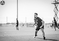 BRADENTON, FL - JANUARY 21: Sebastian Lletget heads the ball during a training session at IMG Academy on January 21, 2021 in Bradenton, Florida.