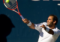 Tennis all time great Pete Sampras plays during the Championships at the Palisades in Charlotte, NC.