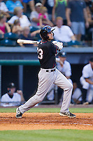 Thomas Lindauer (23) of the Quad Cities River Bandits follows through on his swing against the Bowling Green Hot Rods at Bowling Green Ballpark on July 26, 2014 in Bowling Green, Kentucky.  The River Bandits defeated the Hot Rods 9-2.  (Brian Westerholt/Four Seam Images)