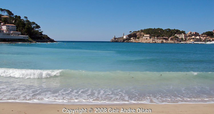 The beach in Port Soller on a sunny day at Majorca, Spain