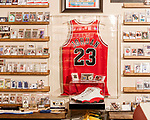 November 27, 2019. Cary, North Carolina.<br /> <br /> A 1998 game worn and signed Chicago Bulls Michael Jordan jersey. <br /> <br /> Jimmy Mahan, a former social worker and banker, has a massive collection of sports memorabilia. His collection spans his days as a kid growing up in Kentucky and loving UK basketball all the way through high collectible classic baseball cards, jerseys and sneakers.