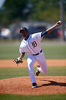 Detroit Tigers pitcher Felix Viloria (61) during a Minor League Spring Training game against the Atlanta Braves on March 22, 2018 at the TigerTown Complex in Lakeland, Florida.  (Mike Janes/Four Seam Images)