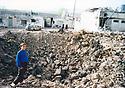 Iraq 2003 In Ain Sifni ( Shekhan), Yezidi village with Christians, destruction following an American bombing.<br /> Irak 2003 Ruines, destructions suite a un bombardement américain sur Ain Sifni, village yezidi et chretien pres de la plaine de Ninive