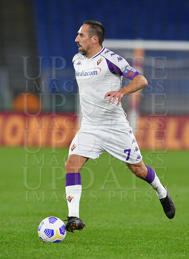 Football, Serie A: AS Roma - Fiorentina, Olympic stadium, Rome, November 1, 2020. <br /> Fiorentina's Franck Ribery in action during the Italian Serie A football match between Roma and Fiorentina at Olympic stadium in Rome, on November 1, 2020. <br /> UPDATE IMAGES PRESS/Isabella Bonotto