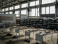The remains of people massacred during the Bosnian war are laid out on tables at the Krajina Identification Project. It is here that the remains of people murdered during the Bosnian wars are identified.