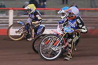 Heat 7: Mads Korneliussen (white), Richard Lawson (blue) and Nicolai Klindt - Vortex Lakeside Hammers vs Kings Lynn Stars - Sky Sports Elite League Speedway at Arena Essex Raceway, Purfleet - 23/04/13 - MANDATORY CREDIT: Gavin Ellis/TGSPHOTO - Self billing applies where appropriate - 0845 094 6026 - contact@tgsphoto.co.uk - NO UNPAID USE.