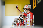Guillaume Martin (FRA) and Cofidis at sign on before Stage 15 of the 2021 Tour de France, running 191.3km from Ceret to Andorre-La-Vieille, France. 11th July 2021.  <br /> Picture: A.S.O./Pauline Ballet | Cyclefile<br /> <br /> All photos usage must carry mandatory copyright credit (© Cyclefile | A.S.O./Pauline Ballet)