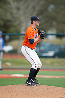 Virginia Cavaliers starting pitcher Connor Jones (33) looks to his catcher for the sign against the Seton Hall Pirates at The Ripken Experience on February 28, 2015 in Myrtle Beach, South Carolina.  The Cavaliers defeated the Pirates 4-1.  (Brian Westerholt/Four Seam Images)