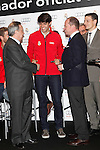 Real Madrid player Kaka (c) and the President Florentino Perez participate and receive new Audi during the presentation of Real Madrid's new cars made by Audi at the Jarama racetrack on November 8, 2012 in Madrid, Spain.(ALTERPHOTOS/Harry S. Stamper)