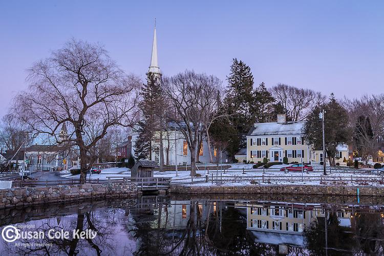Night falls on the village of Sandwich, Cape Cod, Massachusetts, USA