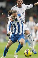 Real Madrid's Sergio Ramos against Espanyol's Sergio Garcia during La Liga match. December 16, 2012. (ALTERPHOTOS/Alvaro Hernandez)