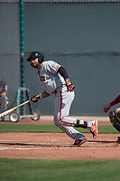 San Francisco Giants first baseman Robinson Medrano (22) starts down the first base line during a Minor League Spring Training game against the Cleveland Indians at the San Francisco Giants Training Complex on March 14, 2018 in Scottsdale, Arizona. (Zachary Lucy/Four Seam Images)