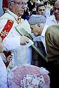 Irak Kurdistan 2002.Le 15 aout chez les chrétiens chaldéensà Zakho avec l'évêque Mgr Petros Harbol.Kurdistan Iraq 2002.In Zakho, Bishop Petros Harbol with the christian Chaldeans