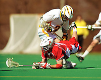 30 April 2011: Stony Brook Seawolves' midfielder Adam Rand, a Senior from Niantic, CT, in action against the University of Vermont Catamounts on Moulton Winder Field in Burlington, Vermont. The Catamounts fell to the visiting Seawolves 12-9 to conclude their America East season. Mandatory Credit: Ed Wolfstein Photo