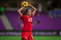 ORLANDO, FL - FEBRUARY 24: Lindsay Agnew #22 of the CANWNT throws the ball during a game between Brazil and Canada at Exploria Stadium on February 24, 2021 in Orlando, Florida.
