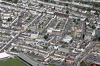 Aerial view of houses in the city centre of Swansea