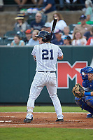 Ryder Green (21) of the Pulaski Yankees at bat against the Burlington Royals at Calfee Park on September 1, 2019 in Pulaski, Virginia. The Royals defeated the Yankees 5-4 in 17 innings. (Brian Westerholt/Four Seam Images)