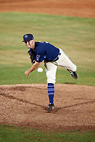 Mobile BayBears relief pitcher Bo Way (3) delivers a pitch during a game against the Chattanooga Lookouts on May 5, 2018 at Hank Aaron Stadium in Mobile, Alabama.  Chattanooga defeated Mobile 11-5.  (Mike Janes/Four Seam Images)