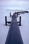 The Trans-Alaska Pipeline leaving Prudhoe Bay, Alaska across the North Slope en route to Valdez and transshipment.