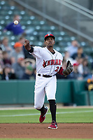 Ke'Bryan Hayes (24) of the Indianapolis Indians makes a throw to first base at Victory Field on May 14, 2019 in Indianapolis, Indiana. The Indians defeated the RailRiders 4-2. (Andrew Woolley/Four Seam Images)