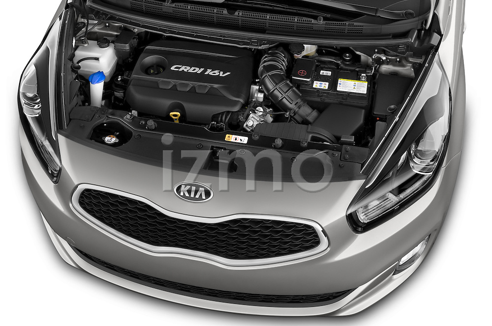 Car Stock 2014 KIA CARENS Lounge 5 Door Mini MPV 2WD Engine high angle detail view