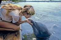 bottlenose dolphin, Tursiops truncatus (c) gets a kiss from trainer Dolphin Research Center, Grassy Key, Florida Keys (Gulf of Mexico)