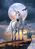 Interlitho, Lorenzo, FANTASY, paintings, unicorn, moon, eagle, KL, KL4279,#fantasy# illustrations, pinturas