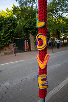 Milan,Italy - june 13 2021- Yarn bombing festival in Lambrate district with artworks from all over the world