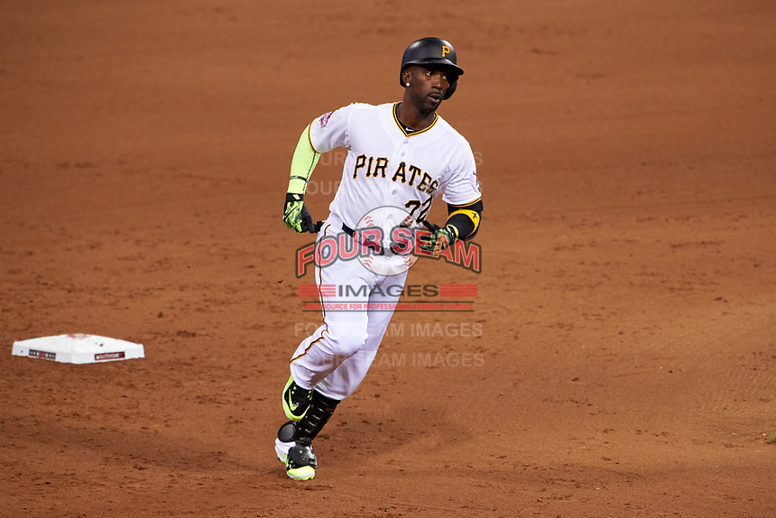 Pittsburgh Pirates Andrew McCutchen rounds the bases after hitting a home run during the MLB All-Star Game on July 14, 2015 at Great American Ball Park in Cincinnati, Ohio.  (Mike Janes/Four Seam Images)