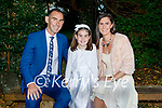 Doireann O'Riley from Fossa receiving her First Holy Communion in the Prince of Peace Church Fossa on Saturday with her parents Brian and Niamh O'Riley.