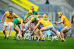 Paudie O'Connor, Kerry in action against Eoghan Campbell, Antrim during the Joe McDonagh Cup Final match between Kerry and Antrim at Croke Park in Dublin.